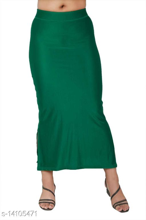 Carrel Women Lycra Fabric Long Length Plain Shiney Petticoat Slim Fit Shapewear(Bottlegreen)