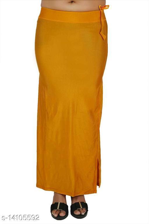 Carrel Women Lycra Fabric Long Length Plain Shiney Petticoat Slim Fit Shapewear(Mustargold)