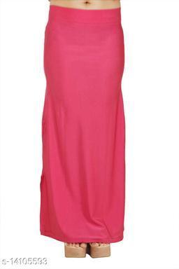 Carrel Women Lycra Fabric Long Length Plain Shiney Petticoat Slim Fit Shapewear(Hotpink)