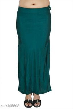 Carrel Women Lycra Fabric Long Length Plain Shiney Petticoat Slim Fit Shapewear(Peacockgreen)