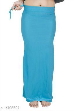 Carrel Women Lycra Fabric Long Length Plain Shiney Petticoat Slim Fit Shapewear(Skyblue)