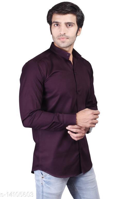Rakshita Fashions Men Cotton Dark Brown Slim Fit Mandarin Collar Solid Full Sleeves Shirt (RAFS10053_DarkBrown)