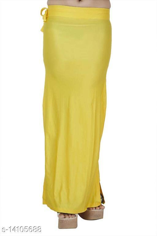 Carrel Women Lycra Fabric Long Length Plain Shiney Petticoat Slim Fit Shapewear(Lemonyellow )
