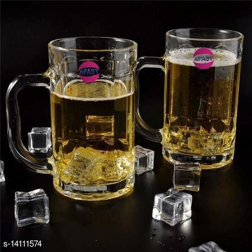Afast New Stylish Designer Bear/Juice Multipurpose Glass/Mug with Easy Grip Handle, Transparent, Clear, Set of 2