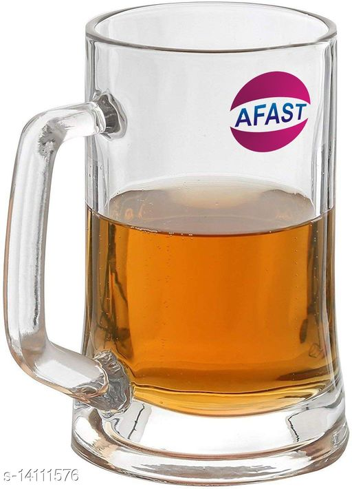 Afast New Stylish Designer Bear/Juice Multipurpose Glass/Mug with Easy Grip Handle, Transparent, Clear, Set of 1