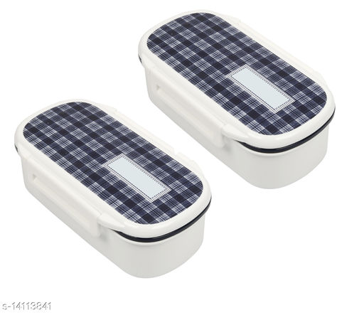 ARADENT™ Double Decker Lunch Box with Spoon & Fork Brown Food Grade Plastic, Microwave Oven Safe(2 Pc, White)