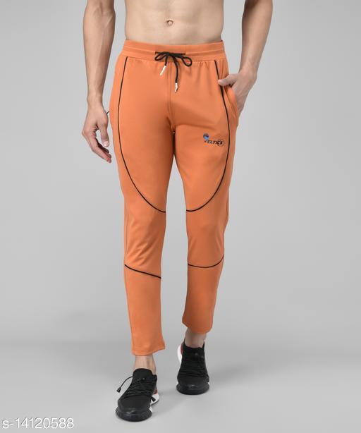 Veltick Men's Lycra Solid Track Pant (Orange)