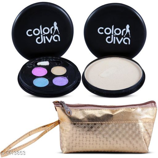 Makeup Kits Premium Choice Standard Makeup Kit Combo  *Product Name* Color Diva 4 in 1  Eyeshadow,Compact With Golden Makeup Pouch Set of 3, C-538  *Product Type* Makeup Kit combo  *Product Description*