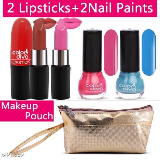 Makeup Kits Premium Choice Standard Makeup Kit Combo  *Product Name* Color Diva 2 Lipstick & Nail Paint With Golden Makeup Pouch Set of 5, C-539  *Product Type* Makeup Kit combo  *Product Description*