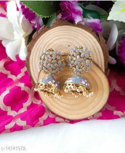 CARANS colorful meenakari jhumka earrings, Grey, 1 pair of earrings