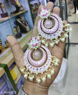 CARANS meena light weight chandbali earrings, Pink, 1 pair of earrings