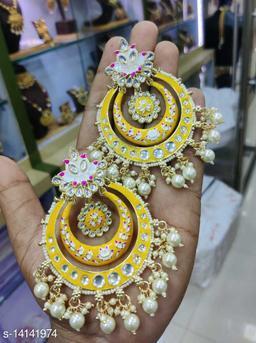 CARANS meena light weight chandbali earrings, Yellow, 1 pair of earrings