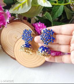 CARANS colorful meenakari jhumka earrings, Blue, 1 pair of earrings