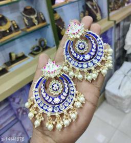 CARANS meena light weight chandbali earrings, Blue, 1 pair of earrings