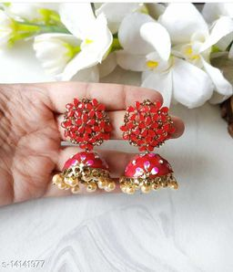 CARANS colorful meenakari jhumka earrings, Red, 1 pair of earrings