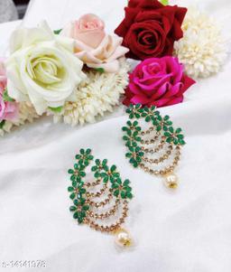 CARANS colorful light weight beads earrings, Dark Green, 1 pair of earrings