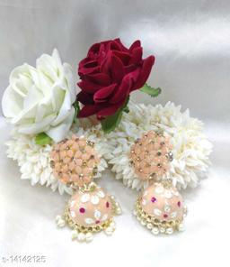 CARANS colorful meenakari jhumka earrings, Peach, 1 pair of earrings