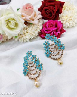 CARANS colorful light weight beads earrings, Pastel Blue, 1 pair of earrings