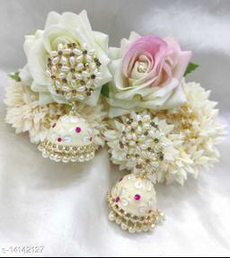 CARANS colorful meenakari jhumka earrings, White, 1 pair of earrings