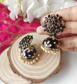 CARANS colorful meenakari jhumka earrings, Black, 1 pair of earrings