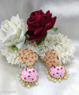 CARANS colorful meenakari jhumka earrings, Light Pink, 1 pair of earrings
