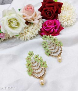 CARANS colorful light weight beads earrings, Pista Green, 1 pair of earrings