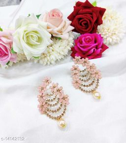 CARANS colorful light weight beads earrings, Pastel Pink, 1 pair of earrings