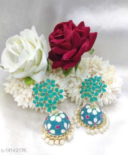 CARANS colorful meenakari jhumka earrings, Pastel Green, 1 pair of earrings