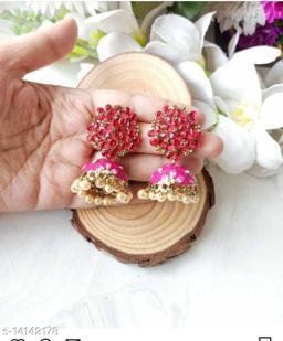 CARANS colorful meenakari jhumka earrings, Dark Pink, 1 pair of earrings