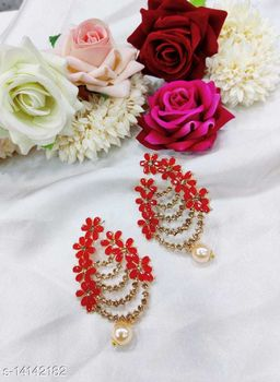 CARANS colorful light weight beads earrings, Red, 1 pair of earrings