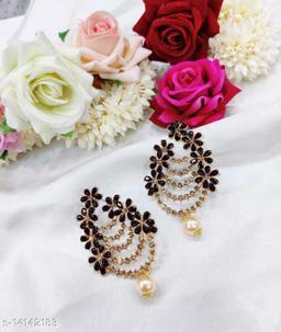 CARANS colorful light weight beads earrings, Black, 1 pair of earrings