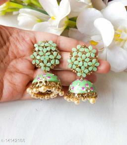 CARANS colorful meenakari jhumka earrings, Pista Green, 1 pair of earrings
