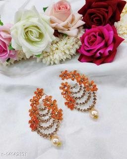 CARANS colorful light weight beads earrings, Orange, 1 pair of earrings