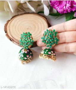 CARANS colorful meenakari jhumka earrings, Dark Green, 1 pair of earrings