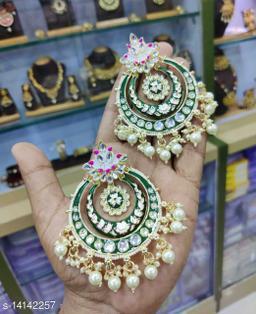 CARANS meena light weight chandbali earrings, Dark green, 1 pair of earrings
