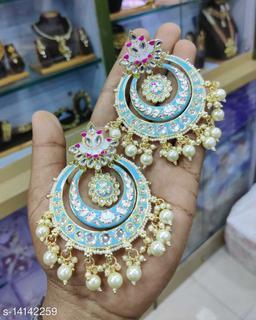 CARANS meena light weight chandbali earrings, Light Blue, 1 pair of earrings