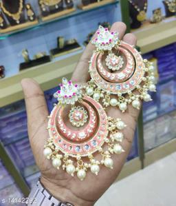 CARANS meena light weight chandbali earrings, Peach, 1 pair of earrings