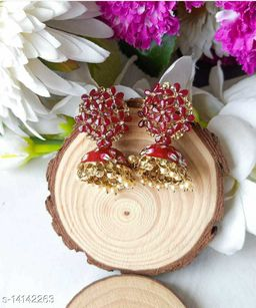 CARANS colorful meenakari jhumka earrings, Maroon, 1 pair of earrings