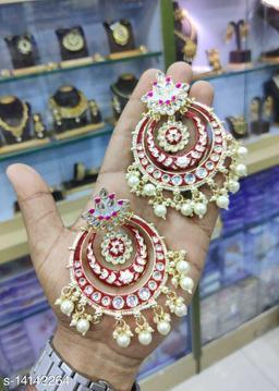 CARANS meena light weight chandbali earrings, Red, 1 pair of earrings