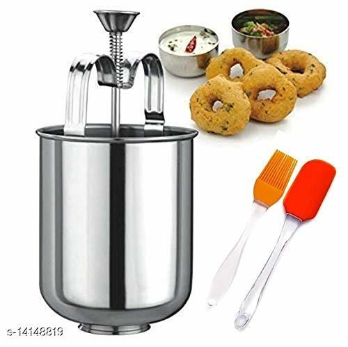 Frekich Stainless Steel Mendu Vada Maker with Stand, with Spatula & Oil Brush Pack of 1