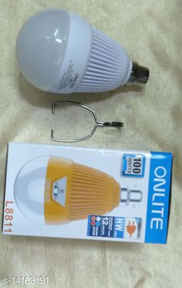 Brand World Onlite Rechargeable AC/DC Bulb 100W HW-SMD Emergency Automatic Led Light with Detachable Handle (Multicolour)- Pack of 2