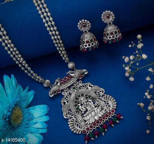 Shimmering Oxidized Temple Women's Jewellery Set