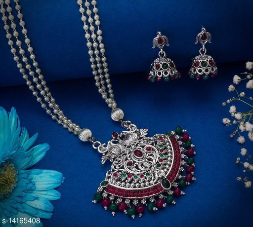 Twinkling Oxidized Temple Women's Jewellery Set