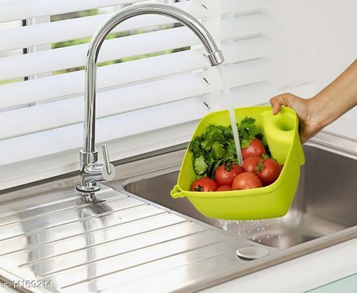 Multicolor Plastic Colander Vegetables and Fruits Cooking Washing Bowl Draining Strainer Basket (Pack of 1)