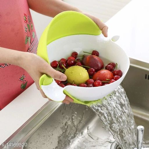 Multicolor Double Layer Plastic Vegetables & Fruits Washing Bowl Draining Strainer Basket (Pack of 1)