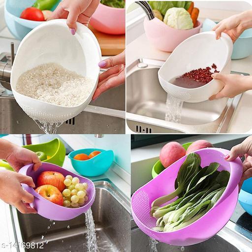 Multicolor Plastic Colander Rice, Vegetables, Fruits, Pasta, Noodles Cooking Washing Bowl Draining Strainer Basket (Pack of 2)