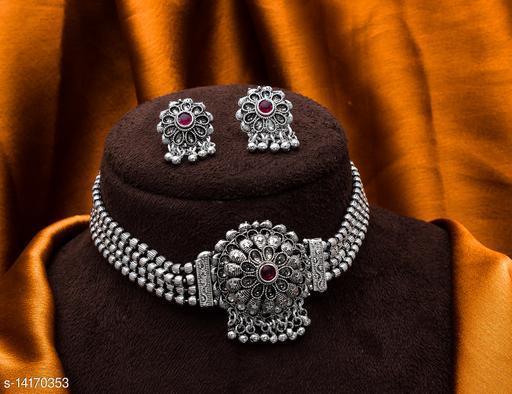 Myhra Stylish Silver Plated AlloyNecklace Jewellery Set For Stylish Women