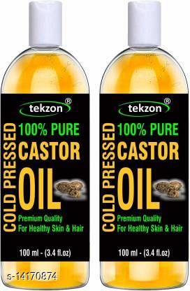 tekzon 100% Pure Castor Oil, Cold Pressed, To Support Hair Growth (Pack of 2) (200 ml)