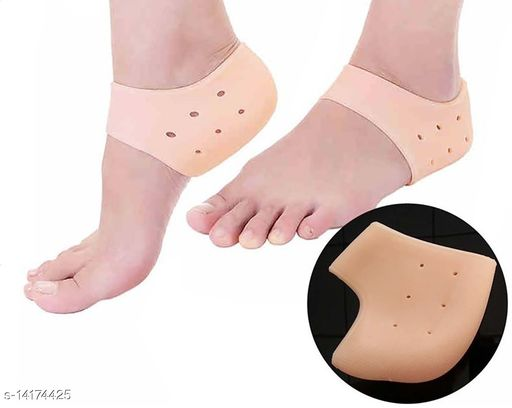 Silicone Gel Heel Pad Socks for Pain Relief for Men and Women (Beige, Free Size) - 1 Pair