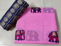 Embroidered Chanderi Cotton Saree with Jacquard Blouse Piece